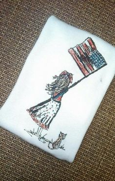 """Instant download Embroidery Digital File """"Girl and USA Flag"""" 4th of July"""