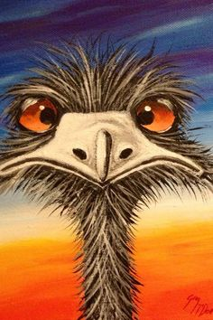 They call me Cousin It. Bird Drawings, Art Drawings Sketches, Cartoon Drawings, Cartoon Art, Easy Paintings, Animal Paintings, Painting & Drawing, Watercolor Paintings, Painting Canvas