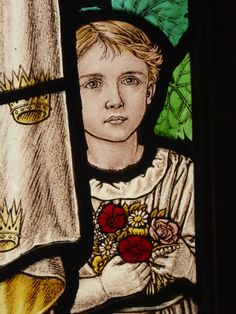https://flic.kr/p/LXNVkQ | Child with Flowers | Detail of a window by Florence…