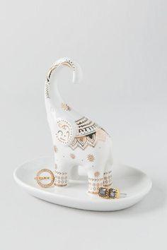 Gold Print Elephant Ring Holder