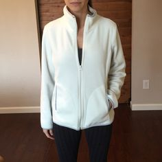 Old Navy White Fleece Jacket White fleece Old Navy Jacket. Full zip 2 pockets. Size medium. Very clean and In excellent condition. Old Navy Jackets & Coats