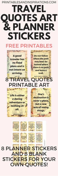 Travel quotes motivational poster, free printable art, printable quotes, free printable planner stickers, travel quotes wanderlust, stickers for travel journal, old maps