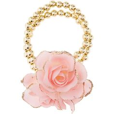 Monsoon Amiya Flower Pearl Bracelet ($9) ❤ liked on Polyvore featuring jewelry, bracelets, pearl bangles, gold tone jewelry, pearl jewelry, blossom jewelry and pearl jewellery