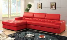 Hokku is well-known for very stylish modern furniture and that's no exception with this chaise lounge bright red leather sectional with a partial tufted upholstery pattern.