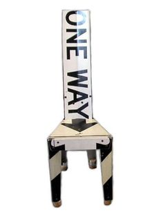 Love these chairs made from recycled street signs