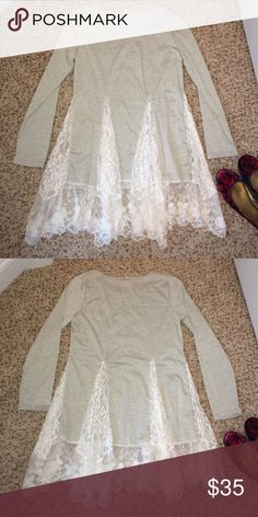 """Lace Panel Tunic❤️ NWOT! Only tried one, never worn. Size M. Boutique. Approx meas laying flat: chest 17 3/4"""", waist 16.5"""", length to the bottom of the shortest lace 30"""". To the longer lace approx 32"""". There is no lining under the lace, so suggest wearing a cami if you want more coverage. Tops"""