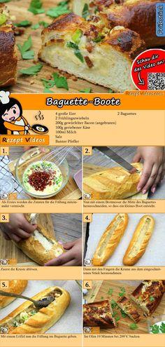 Eine leckere und schnelle Idee fürs Frühstück! Das Baguette-Boote  Rezept Video findest du mit Hilfe des QR-Codes ganz leicht :) #BaguetteBoote  #Brot #Croissant #Frühstück #Frühstücksrezepte #Rührei #Omelett #EinfacheRezepte #Sandwich #RezeptVideo #RezeptVideos #Rezept