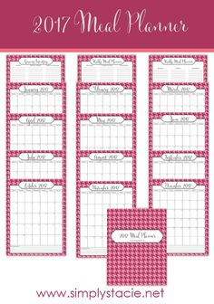 Meal planning saves time, money and sanity! Get your free 2017 Meal Planner printable here. It includes a weekly planner, monthly planner and more!