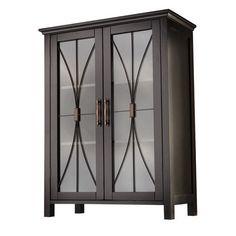 Espresso Floor Cabinet 2 Door Shelf Storage Unit Entry Way Wood Shelf System
