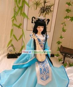 Chinese Gorgeous Light Blue Princess Costumes Complete Set rental set traditional buy purchase on sale shop supplies supply sets equipemnt equipments Chinese Hairpin, Chinese Dolls, Princess Costumes, Hanfu, Ball Jointed Dolls, Light Blue, Fashion Outfits, Visit China, Asian
