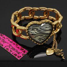 Betsey Johnson zebra heart  strech retro bracelet  bangle ,new, gift box