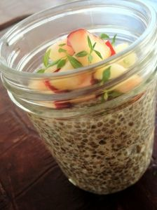 Chia Seed Pudding with Peaches and Thyme---I am not a fan of Thyme, so I am going to try this with maybe some mint...Thoughts??