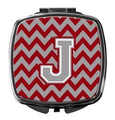 Letter J Chevron Crimson and Grey Compact Mirror CJ1043-JSCM