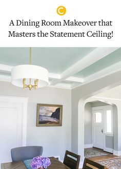 A statement ceiling is a great way to make an impact in a room! See this incredible dining room makeover from Jojotastic with the perfect airy blue-green paint color Headspace on the ceiling! Classic Dining Room Paint, Neutral Dining Room Paint, Blue Green Paints, Green Paint Colors, Ceiling Paint Colors, Wall Colors, Painting Trim, Diy Painting, Diy Home Decor Projects