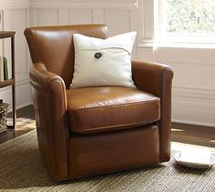 Irving Leather Swivel Armchair, Our compact version of the classic club chair offers all the comfort of the original but in a smaller swivel chair silhouette that's just right for a library, den or small living room. Swivel Recliner Chairs, Leather Swivel Chair, Small Swivel Chair, Leather Club Chairs, Upholstered Arm Chair, Furniture Upholstery, Eames Chairs, Swivel Glider, Upholstering Chairs