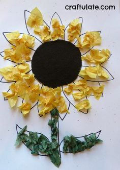 This easy Sunflower Craft is perfect to give as a gift for Mother's Day! All you need is tissue paper, glue, and paper.