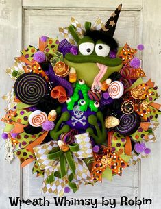 Halloween Wizard Frog Christmas Gingerbread, Christmas Door, Modern Christmas, Gold Christmas, Halloween Wreaths, Holiday Wreaths, Christmas Decorations, Welcome New Baby, Old Time Pottery