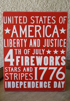 4th of July Subway Art Wooden Sign.  via Etsy.