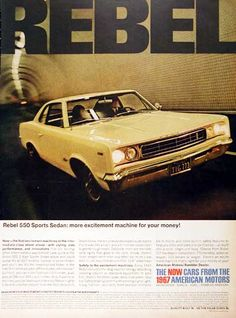 1967 American Motors Corporation Rebel 550 Sports Sedan original vintage ad. Available with either 290 or 343 Typhoon V8 Thunder engines.