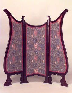 English Art Nouveau mahogany shaped 3 fold screen with blue floral upholstered panels Art Nouveau Interior, Art Nouveau Furniture, Antique Furniture, Antique Interior, Furniture Upholstery, Belle Epoque, Muebles Art Deco, Decorative Screens, Room Screen