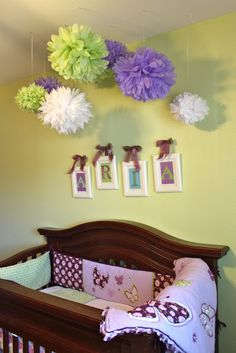 Purple and lime green nursery