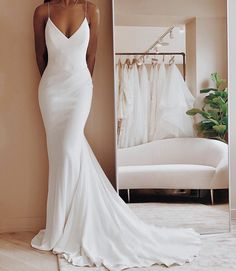 - Wedding dress - 32 Beach Wedding Dresses Perfect For A Destination Wedding, simple wedding dress. 32 Beach Wedding Dresses Perfect For A Destination Wedding, simple wedding dress ,thin straps wedding gown Simple Wedding Gowns, Backless Wedding, Dream Wedding Dresses, Gown Wedding, Wedding Beach, Wedding Ideas, Bride Dress Simple, Wedding Dress Styles, Venus Wedding Dresses