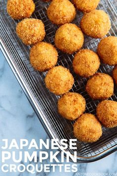Japanese Pumpkin Croquettes (Kabocha Korokke) かぼちゃコロッケ - Japanese pumpkin croquettes or kabocha korokke is our family's fall favorite. Crispy on the outside and naturally sweet and savory on the inside, it's like a party in your mouth! These croquettes will disappear in no time. #kabocha #korokke #pumpkin #Japaneserecipe #かぼちゃ #deepfried| Easy Japanese Recipes at JustOneCookbook.com