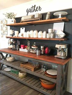 Awesome Coffee Bar Ideas that Will Makes All Coffee Lovers Falling in Love TAGS: Coffee bar ideas, Coffee station kitchen, DIY Coffee bar in kitchen, Farmhouse coffee bar, Keurig station Coffee Station Kitchen, Coffee Bars In Kitchen, Coffee Bar Home, Home Coffee Stations, New Kitchen, Kitchen Dining, Kitchen Tables, Kitchen Buffet, Open Cabinets In Kitchen