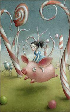 Papierdier - Nicoletta Ceccoli - Alice and flying pig - Alice in Wonderland