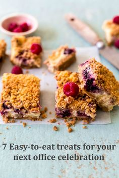 """There's nothing that says, """"hooray"""" quite like something edible and sweet. White Chocolate Cheesecake, Cheesecake Bars, Berries, Treats, Recipe Collections, Celebrities, Cooking, Breakfast, Sweet"""