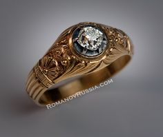 Vintage solitaire diamond gold mens ring for sale Antique Russian Imperial Jewelery
