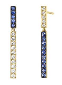 Finn Jewelry •  Diamond and Sapphire Harlequin Bar Dangle Earrings (=)