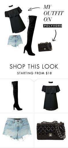 A fashion look from June 2016 featuring off-the-shoulder blouses, denim shorts and black over-the-knee boots. Browse and shop related looks. Alexander Wang, My Outfit, Stuart Weitzman, Shoe Bag, Polyvore, Stuff To Buy, Outfits, Shopping, Collection
