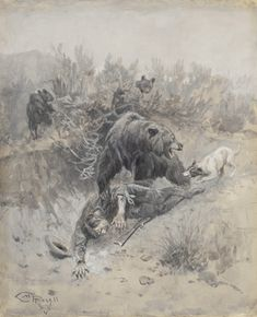 Sid Richardson Museum: He Tripped And Fell Into A Den On A Mother Bear And Her Cubs by Charles M. Russell