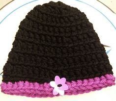 Crochet hat using Lion Brand Oakland Black and Denver Rocky Mountain