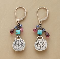 """Jes MaHarry's sterling """"Grow Strong"""" charms are joined by garnet, pink tourmaline and turquoise, suspended from 14kt gold leverback wires. Handcrafted in USA. Exclusive. 1-5/8""""L."""
