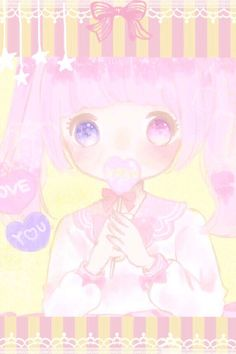 ✮ ANIME ART ✮ pastel. . .chibi. . .heterochromia. . .different colored eyes. . .pink hair. . .twin tails. . .lollipop. . .candy hearts. . .ribbons. . .lace. . .cute. . .kawaii