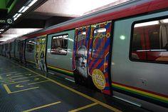 Tren del Metro de Caracas recorre la línea 1 dando a conocer las obras de Armando Reverón, 2014