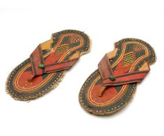 Africa   Pair of sandals from the Hausa people of Nigeria   Leather   20th century
