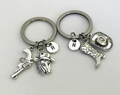 Best friends, Country Girl Gift, Country Boy keychain, Set of 2 keychains, Couple set, Cowgirl, Cowboy, boot, hat, Horse, Pistol, Western