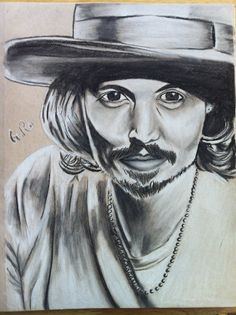Tinted charcoal portrait sketch of Johnny Depp. #artsy #art