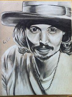 Tinted charcoal portrait sketch of Johnny Depp. #artsy #art