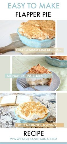 The flapper pie is a traditional Canadian pie made with a graham cookie crust and very simple ingredients. It a traditional family favorite. #faeriesandfauna #pie #grahamcrust #flapperpie #vintagerecipe #easypie #desserts