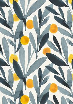 'Indigo Mustard' Poster by irtsya Watercolor painting of berry and leaves repeat pattern<br> Watercolor floral design Trendy Wallpaper, Cute Wallpapers, Wallpaper Backgrounds, Iphone Wallpaper, Wallpaper Patterns, Floral Wallpapers, Wall Wallpaper, Floral Backgrounds, Wallpapers Ipad