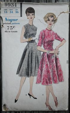 Vogue 9934 1960s 60s Flared Midi Cocktail Jewel Neckline Sleeveless or Short Sleeves Dress Vintage Sewing Pattern Size 14 Bust 34