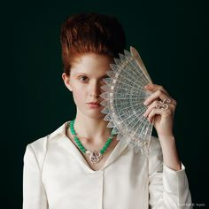 "Van Cleef & Arpels new ""Jewelry and Watches"" catalog. Couleurs de Paradis necklace, white gold, chrysophrase and diamonds. Oiseaux de Paradis Volutes Between the Finger Ring, white gold and diamonds."