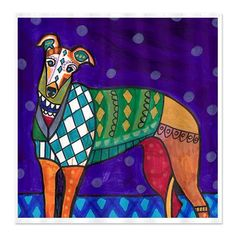 Greyhound Angel Art Shower Curtain Dog Shower por HeatherGallerArt