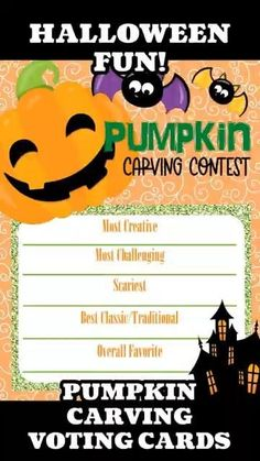 This is our Halloween Pumpkin Carving Contest Voting Cards. If you are in need of some Halloween Party Ideas or Halloween Activities then a Pumpkin Carving Contest would be a great addition to your Classroom party or your Halloween Party. Maybe you need some Halloween Birthday Party Games then this would be easy to do. Carving Pumpkins for Kids is so much fun. Look for some Pumpkin Carving Ideas and then print these voter cards for some good old-fashioned Halloween fun. Why not pair this game