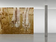 Available for sale from Maharam, Marilyn Minter, Goldkicker Digitally printed wall installation, sized, priced and produced on a project-specific b… Marilyn Minter, Wall Installation, Illustrators, Glass Vase, Artsy, Candles, Create, Digital, Wallpaper