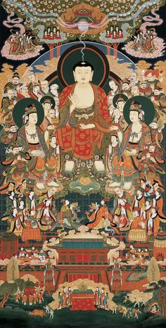 고려 불화 Illustration of Maitreyavyakarana-sutra which is one of the Goryeo Dynasty Buddhist paintings. Lotus Buddha, Art Buddha, Religious Paintings, Religious Art, Korean Art, Asian Art, Buddhism Symbols, Amitabha Buddha, Mahayana Buddhism
